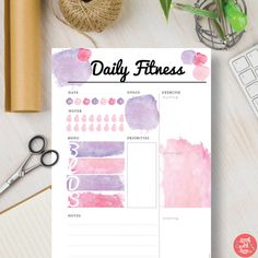 Instant Download Pink Printable Planner Daily Fitness Insert - Watercolor Instant Planner Insert in A5, A4, Letter & Half sizes | #583