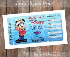 Printable Ticket for a Disney Cruise - Captain Mickey - Customizable, Digital File - You Fill and Print by KirstensKreation on Etsy https://www.etsy.com/listing/257969279/printable-ticket-for-a-disney-cruise