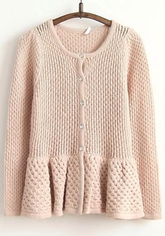 Love this shade of pink! Pale Pink  Falbala Single Breasted Wrap Wool Cardigan #pale_pink #sweater #fashion
