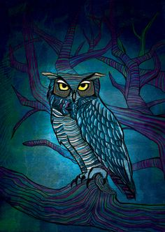 'Owl' by Asmaa Yehia  ----  blue owl                                                                                                                                                                                 More