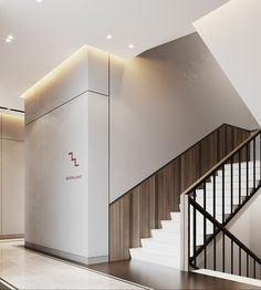 HALL visualization of residential complex on Behance Staircase Interior Design, Lobby Interior, Railing Design, Residential Complex, Residential Architecture, Interior Architecture, Elevator Lobby Design, Hotel Corridor, Stair Handrail