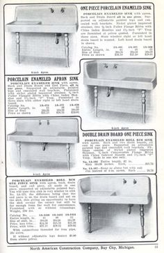Kitchen Sinks from Aladdin's 1916 Furnishing catalog