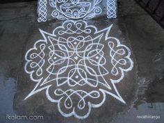 Rangoli 10 dots 2 lines end with 2 dots. by revathiilango Indian Rangoli Designs, Rangoli Border Designs, Small Rangoli Design, Beautiful Rangoli Designs, Rangoli Borders, Kolam Rangoli, Rangoli With Dots, Simple Rangoli, Worli Painting