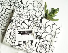 succulents flour sack towel, 100% cotton, hand-printed, black by birdmafia on Etsy https://www.etsy.com/listing/263062628/succulents-flour-sack-towel-100-cotton