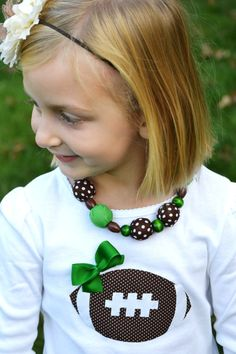 Pigskins and pigtails girls football by sweetthreadsclothing 21 95