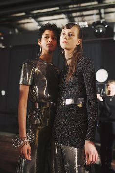 Shiny metallics and sparkly sci-fi fabrics. Opening Ceremony AW16 New York