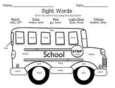 FREE! Back-to-School color by sight word school bus!