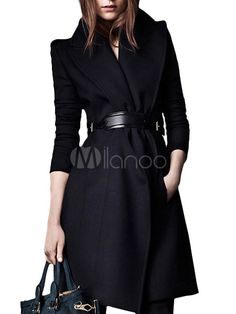Black Lapel Long Wool Blend Flared Coat - Save Up to 70% Off on fabulous fashion trend products at Milano with Coupon and Promo Codes.