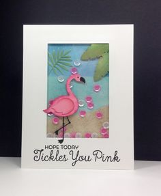 Tickled Pink, Wild Greenery: MFT, flamingo die, shaker card, beach, summer, by beesmom at splitcoast, critter card