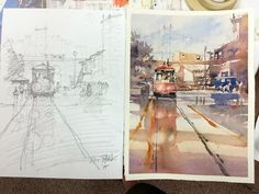 Iain Stewart   Last demo in Greely. Rough out sketch and final watercolor.   On the Tracks. Astoria, OR