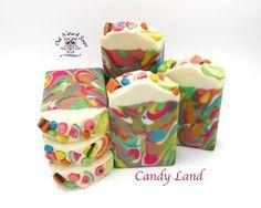 Candy Land Soap/artisan soap/handmade soap/all natural soap/hand made soap/kids soap/homemade soap/girl soap/luxury soap/goat milk soap/rainbow soap/Owl Natural Soaps