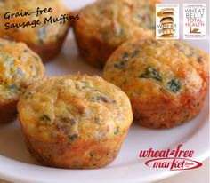 Sausage Muffins, Grain-Free with breakfast sausage, Wheat-Free Market All Purpose Baking Mix, spinach or any veggie, cheddar cheese, jalapeno or canned green chilis