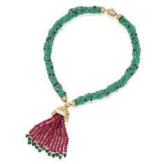 The Thurn und Taxis Collection - 18 Karat Gold, Emerald and Ruby Bead and Diamond Tassel-Necklace.