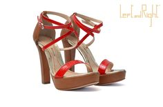 V204 Sandals in waxy leather heel 10 colour coral and cognac
