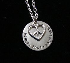 Peace+Love+Happiness+Necklace+by+TheJewelryChicks+on+Etsy,+$26.00