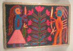 Vintage Huichol Yarn Art ~ 8 Inch x 12 Inch Sealed