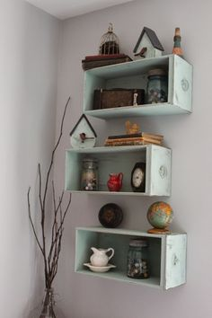 Simple and Beautiful. http://namelyoriginal.blogspot.com/2013/12/drawers-turned-shelves.html