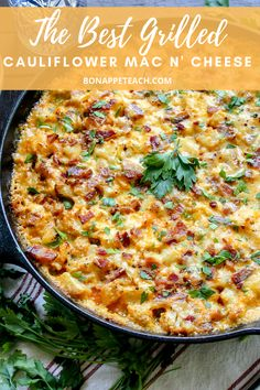 Grilled Cauliflower Bacon Mac and Cheese - Bonappeteach - Keto - Cauliflower Grilled Cauliflower, Cauliflower Mac And Cheese, Cauliflower Recipes, Side Dishes For Bbq, Low Carb Side Dishes, Diabetic Side Dishes, Low Carb Keto, Low Carb Recipes, Healthy Recipes