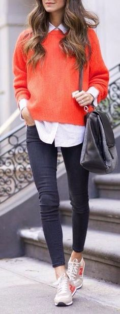 Cute Casual Outfit, Casual Style, Casual Fashion, Orange Sweater, How to Wear Bright Colors, Preppy Style, Preppy Outfit, Daytime Outfit, Outfits for Moms, Outfits for Running Errands, Winter Outfits, Winter Style, Winter Fashion