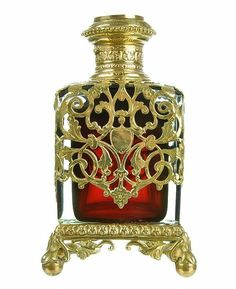 Antique French Ruby Red Glass & Dore Bronze Scent Bottle from rubylane.com