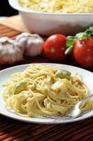 Spaguetti en crema de flor de calabaza con calabacitas y elote.