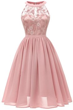 Women Sleeveless Gown Dress Lace Chiffon Cut Out Back A-Line Evening Party Formal Dress Lace Dresses Ladies Vestidos Pink XL Tulle Prom Dress, Ball Gown Dresses, Homecoming Dresses, Dress Up, Bridesmaid Dresses, Dress Lace, Chiffon Dresses, Dress Girl, Short Chiffon Dress