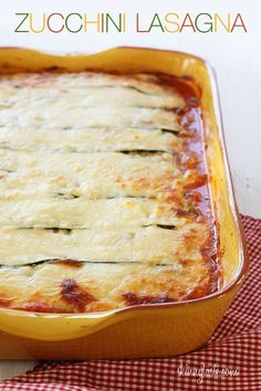 Zucchini Lasagna - By replacing the lasagna noodles with thin sliced zucchini you can create a delicious, lower carb (gluten-free) lasagna that's loaded with vegetables, and you won't miss the pasta! Delicious ive made this numerous times! Low Carb Recipes, Cooking Recipes, Healthy Recipes, Lasagna Recipes, Dinner Recipes, Diabetic Recipes, Drink Recipes, Paleo Recipes, Easy Recipes