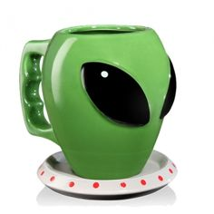 The Alien Mug and Saucer. $14.99  Ceramic alien head mug and UFO saucer.  -Holds 16 ounces of alien hunting fuel