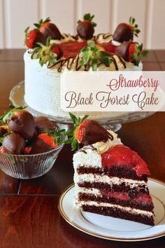 Strawberry Screech Black Forest Cake - a delicious twist on a traditional Black Forest Cake using a strawberry compote and a favorite rum from Newfoundland.