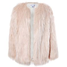 Sans Souci Pink long fur jacket (47.220 CLP) ❤ liked on Polyvore featuring outerwear, jackets, pink, pink jacket, sans souci, fur jacket, long jacket and long fur jacket