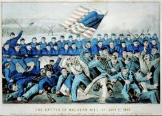"""""""Civil War's Seven Days Battles Costly to Soldier from N.Y"""" (Image: The Battle of Malvern Hill on July 1862 is depicted in a Currier & Ives lithograph. Battle Of Cold Harbor, Henrico County, Malvern Hills, Urban Street Art, National Cemetery, America Civil War, Currier And Ives, World War I, Love Photography"""