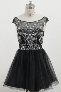 Wholesale Hot Sale A-line Cap Sleeve Applique Beading Black Tulle Mini Cocktail Dresses Real Sample Prom Gown, Free shipping, $128.8-140.0/Piece | DHgate