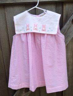Seersucker Bunny Dress 4/5T by lishyloo on Etsy