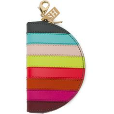 Sophie Hulme stripe coin purse (£140) ❤ liked on Polyvore featuring bags, wallets, multicolor, real leather wallets, leather bags, coin purse wallets, stripe wallet and genuine leather wallet