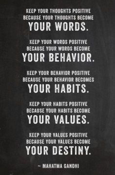 Words, behavior, habits, destiny