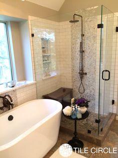 Before & After: Penny Round Mother of Pearl Tile Bathroom Makeover Bathroom Renos, Bathroom Renovations, Bathroom Interior, Small Bathroom, Master Bathroom, Bathroom Ideas, Bathroom Wall, Bathroom Showers, Bathroom Designs