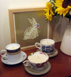 DIY teacup candles. Very cool, and can source a variety of teacups from goodwill!