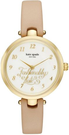 kate spade new york Women's Holland Vachetta Leather Strap Watch 34mm  KSW1220