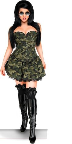 The Atomic Premium Three Piece Camo Corset Dress Costume includes the Camo print strapless corset with sweetheart bust line and metal front busk closure, a black ribbon lace-up back, and a matching thong. CLEARANCE, get it before it's gone. #atomicjaneclothing