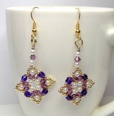 Purple and gold earrings, regal earrings, beaded earrings, beadwork earrrings, beadwoven earrings