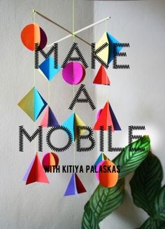 Another fun DIY mobile idea, with instructions. Colorful and bright.