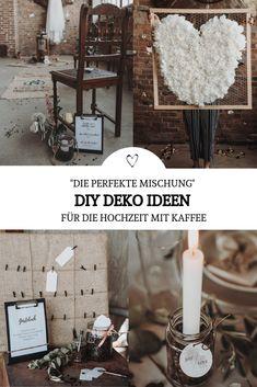 Findet einfache, kreative und günstige DIY Deo Hacks zum selber machen für die Hochzeit: Egal ob aus Kaffeebohnen für Gläser und Kerzen, Kaffee-Jutesäcken oder Kaffeefiltern - aus allen Kaffee-Elementen könnt ihr in vielen Varianten schöne Hochzeitsdeko basteln.  Diese und noch viele weitere Ideen, wie sich mit dem Thema Kaffee sogar eine ganze Hochzeit gestalten lässt, gibt's im Blogpost - klick auf's Bild! // #kaffeeliebe #Kaffee #Hochzeit //dyideko #dekoration #selbermachen #upcycling Urban Industrial, Wedding Locations, Greenery, Shabby, Table Decorations, Party, Home Decor, Paper Mill, Paper