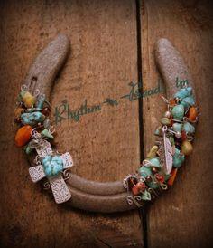 Beaded Horse Shoe Art by DeborahLynn Tengo Fe by RhythmnBeads, $42.00