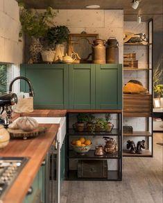 Kitchen Furniture, Kitchen Interior, Kitchen Decor, Green Kitchen, New Kitchen, Küchen Design, House Design, Interior Design, Kitchen Models