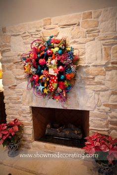 Christmas Wreath with Bright colors  will brighten any room.  www.showmedecorat...