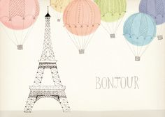 Eiffel Tower Illustrations for a collection of stationery by Galison