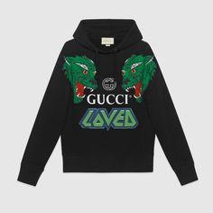Gucci Cotton Sweatshirt With Tigers - Farfetch Gucci Hoodie, Tiger Hoodie, Gucci Gucci, Gucci Black, Mens Sweatshirts, Men's Hoodies, Fashion Brands, Moda Masculina, Tigers
