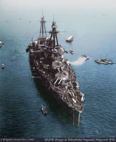 Japanese battleship Hyuga at Mitsubishi's Nagasaki Shipyard, Nagasaki, Japan…
