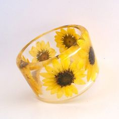 Sunflower Botanical Resin Bangle.  Chunky Bangle with Pressed Flowers.  Real Flowers -Yellow Sunflowers via Etsy