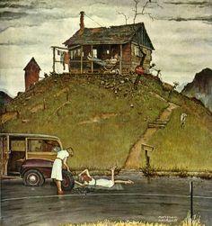 'Fixing a Flat', Norman Rockwell, 1946.
